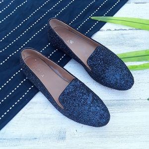 {J.Crew} Blue Glittery Sparkle Loafer Flats Size 9
